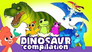Download Learn Dinosaurs for Kids   Scary Dinosaur movie Compilation   Triceratops T-Rex   Club Baboo Video