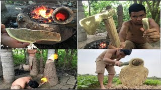 Download Technology Axe Knife casting primitive   Production of bronze labor tools (Cu) Full Video