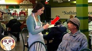 Download Una cameriera tratta con gentilezza un vagabondo. Quando scopre chi era, scoppia a piangere.. Video
