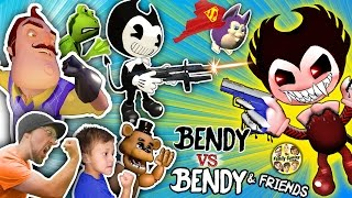 Download BENDY & THE INK MACHINE GUNS vs. HELLO NEIGHBOR, FGTEEV, AMAZING FROG, TATTLETAIL & FNAF Garry's Mod Video