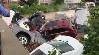 Download Cars swept away in flood Video