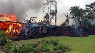 Download Kilauea eruption. 8 AM Leilani Estates A'a lava flow overtakes house on Luana Street May 6, 2018 Video