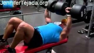 Download FBB Jennifer Tejada benches 110 lb dumbbells!! Video