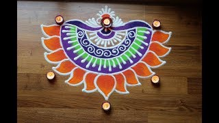 Download Simple and Creative Rangoli designs with colours for Diwali - Freehand flower Rangoli Designs Video