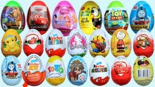 Download 20 Surprise Eggs, Kinder Surprise Cars 2 Thomas Spongebob Disney Pixar Video
