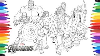 Download THE AVENGERS Coloring Pages | Coloring Painting Avengers Iron Man Captain America Thor Hulk Video