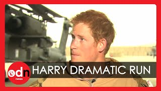 Download Dramatic moment Prince Harry runs for his helicopter during Afghanistan interview Video