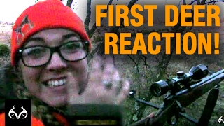 Download Deer Hunting: Woman Has Great Reaction to Killing Her First Deer Video