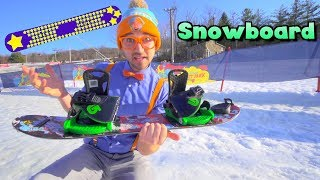 Download Blippi Learns How to Snowboard | Winter Outdoor Activities for Children Video