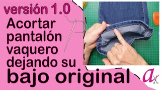 Download Bajo original de un pantalón vaquero al cortar el largo Video