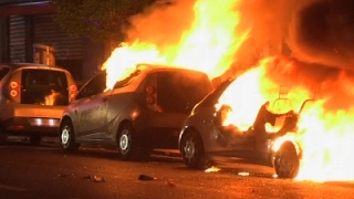 Download Raw: Post-Election Unrest, Cars on Fire in Paris Video