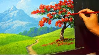 Download Acrylic Landscape Painting Lesson - The Fire Tree by JMLisondra Video