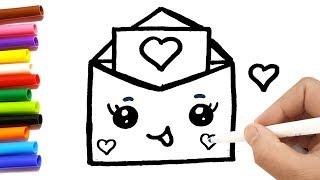 Download Come disegnare una lettera d'amore kawaii per bambini | Disegni da colorare Video