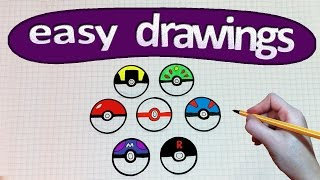 Download Easy drawings #210 How to draw a pokeball / Pokemon GO Video
