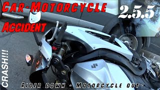 Download Motovlog - SfaS 2.5.5 - Car/Motorcycle Crash (accident): Rider Down, Motorcycle Out Video
