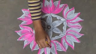 Download Lotus rangoli art designs with 9x5 interlaced dots / muggulu / easy rangoli designs with dots Video