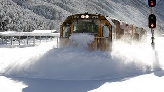 Download Spectacular footage Train plowing through deep snow Arthurs Pass Video