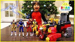 Download Ryan unlocks the Biggest Power Rangers Ninja Steel Surprise Toys Ever!!! Video