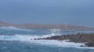 Download Fishing Boat in rough seas at Hamavoe, Shetland Video