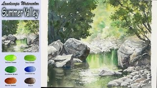 Download Summer Valley - Drawing Landscape Watercolor (Arches rough. wet-in-wet) NAMIL ART Video