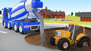 Download Crane Rescue Concrete Mixer Animation Cars Police Cartoon Tractor for Kid Video