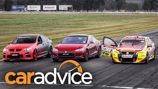 Download Tesla Model S v Holden V8 Supercar v Walkinshaw HSV GTS Drag Race Video