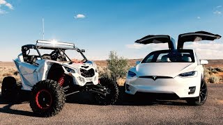Download RACE!! Tesla Model X vs Can-AM Maverick X3 Video