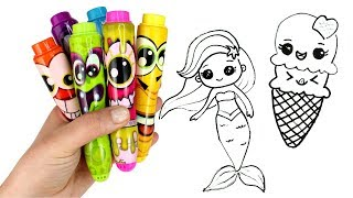 Download Drawing & Coloring with Surprise Toys Ariel Unicorn Ice Cream Smooshy Mushy Miximals Cakepop Cuties Video