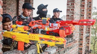 Download LTT Nerf War : SEAL X Warriors Nerf Guns Fight Criminal Group Dr Lee Police Patrol Motorbike Video