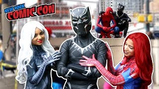 Download BLACK PANTHER VS SPIDER MAN VS New York Comic Con 2017 Ft. DEADPOOL Video