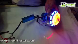 Download Motorbike Headlight 18w Dual Ring With Devil Eye Cooling Fan COB LED Projector Video
