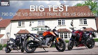 Download The big test - 790 Duke vs Street Triple 765 vs GSX-S750 | Visordown Road Tests Video