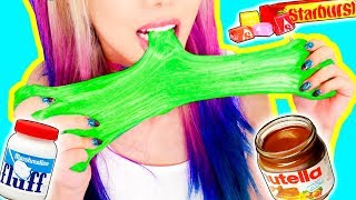 Download 4 DIY Edible Candy Slimes! *SLIME YOU CAN EAT* GIANT GUMMY WORM SLIME, STARBURST, NUTELLA Video
