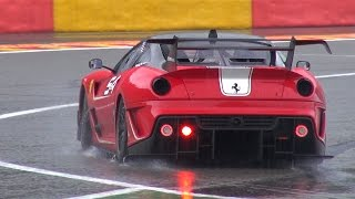 Download Ferrari 599XX Evo & FXX K FLATOUT in HEAVY RAIN! Video