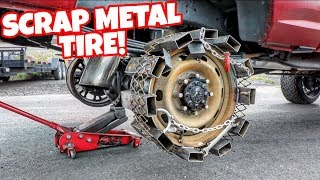 Download MAKING A TIRE OUT OF SCRAP METAL! WILL IT WORK? Video