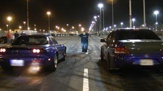 Download Nitrous LSx Mazda RX-7 vs E85 Big Turbo EVO on slicks! Video