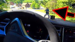 Download Tesla Autopilot Trying to kill my friend, Human saves him! Video