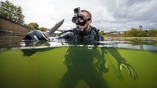 Download Found Phone and Drugs While Scuba Diving Urban River!! (underwater) Video
