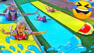 Download Giselle and Claudia pretend play in summer with pool funny activities for kids by Las ratitas Video