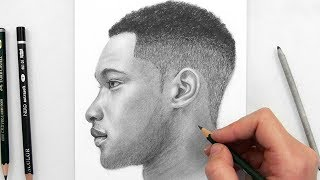 Download Drawing a Man Side View with Graphite Pencils Video