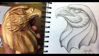Download Making a wooden eagle head out of Norwegian birch wood Video