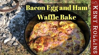Download Easy Camping Breakfast - Bacon Egg and Ham Waffle Bake Video