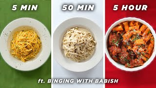 Download 5 Min vs. 50 Min vs. 5 Hour Pasta (ft. Binging With Babish) • Tasty Video
