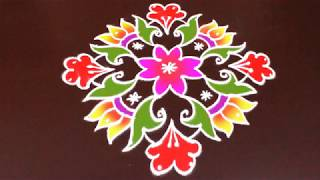 Download 10x2 to 2 dots Colorful Sankranthi muggu | Latest Rangoli by Sunitha | Easy Rangoli Designs Video