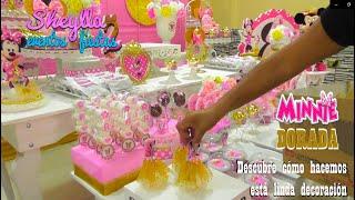 Download Minnie, dorada 💛 , coqueta 🎀, decoración infantil 🌸, mesa de dulces 🍭 Video