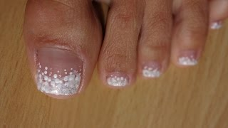 Download Toes Art Design French Pedicure White on white marble effect Video