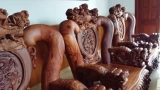 Download Bộ bàn ghế nghê đỉnh, gỗ cẩm lai, tay 19, 11 món, hàng đặc biêt đang chờ chủ nhân mới, xin kính mời Video