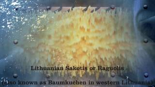 Download Cooking Traditional Lithuanian sakotis cake on skewer Video
