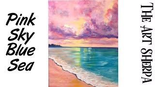 Download Cotton Candy Clouds over Dream beach How to paint with Acrylic Video