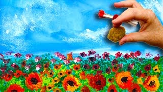 Download EASY Poppies🌹 NO BRUSHES ACRYLIC Painting Sponge And Cotton Swabs BEGINNERS Acrylic Painting Video